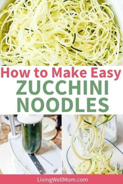 collage of photos - 1. Thin zucchini noodles plated 2. Zucchini in mandolin slicer  3. Zucchini in spiralizer