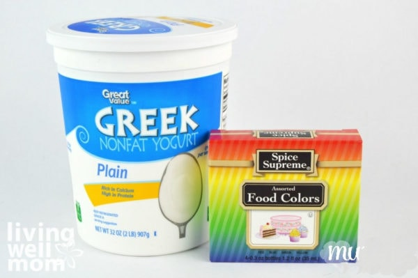 Greek yogurt and food coloring supplies for edible paint