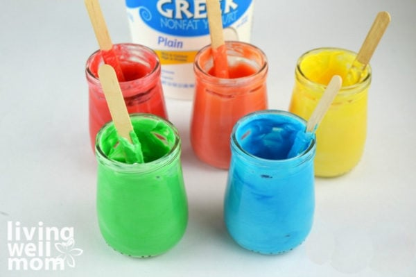 Non toxic edible paint made with yogurt and food coloring