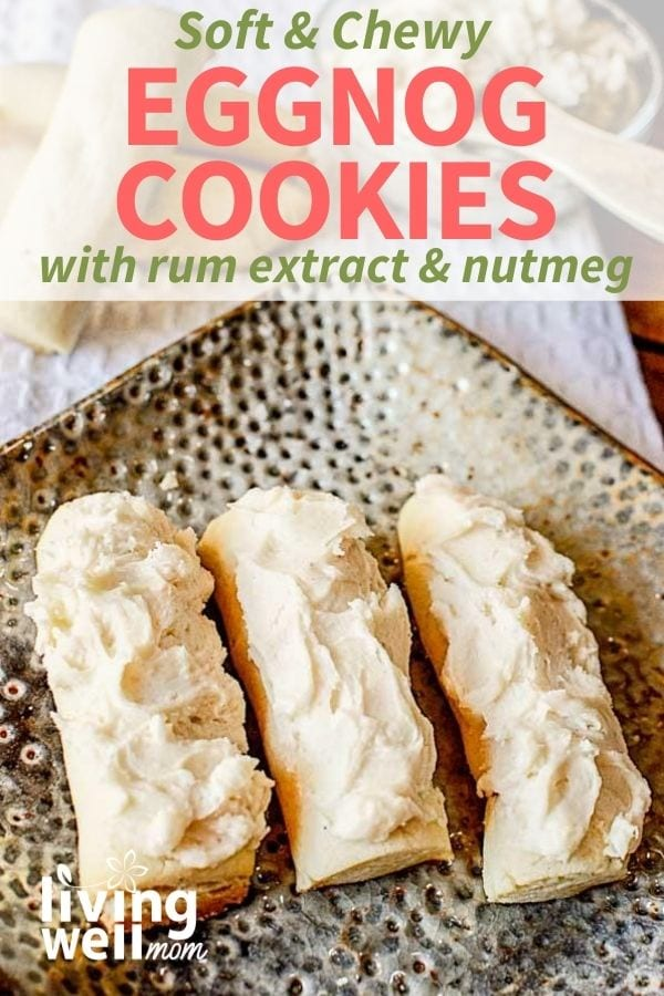 Eggnog cookies shaped into logs with icing