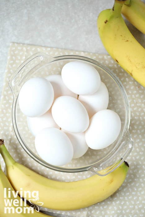 Supplies for 2 ingredient pancakes - bananas and eggs