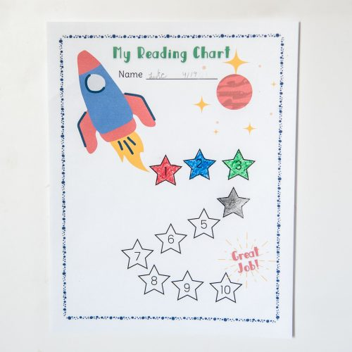 boys rocket reading chart