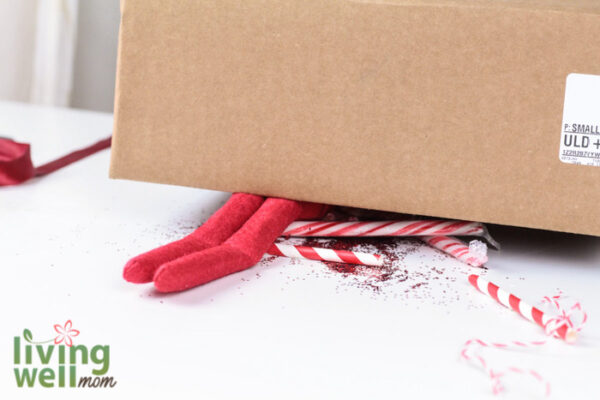 Elf on the shelf in a DIY cardboard box trap