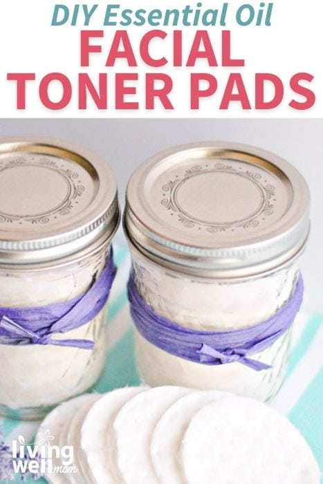 Mason jars filled with DIY face toner pads