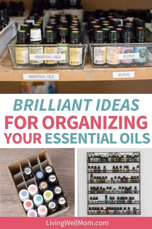 collage of organized essential oils in a container or on a shelf