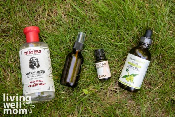 Ingredients to make a simple pain relief spray laying on the grass