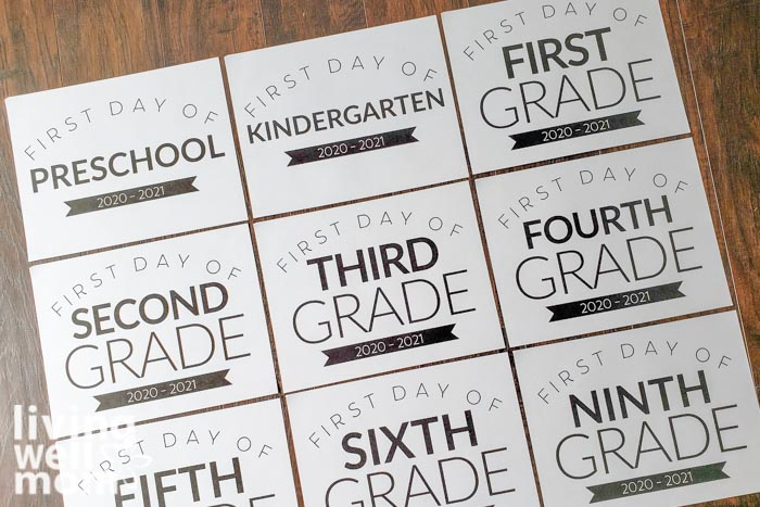 Back to school signs printed out