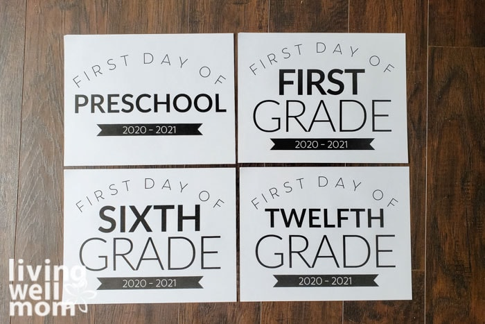 free printable back to school signs