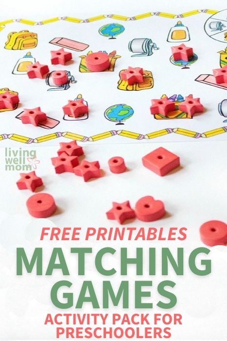 Pinterest image for free printables matching games activity pack for preschoolers.