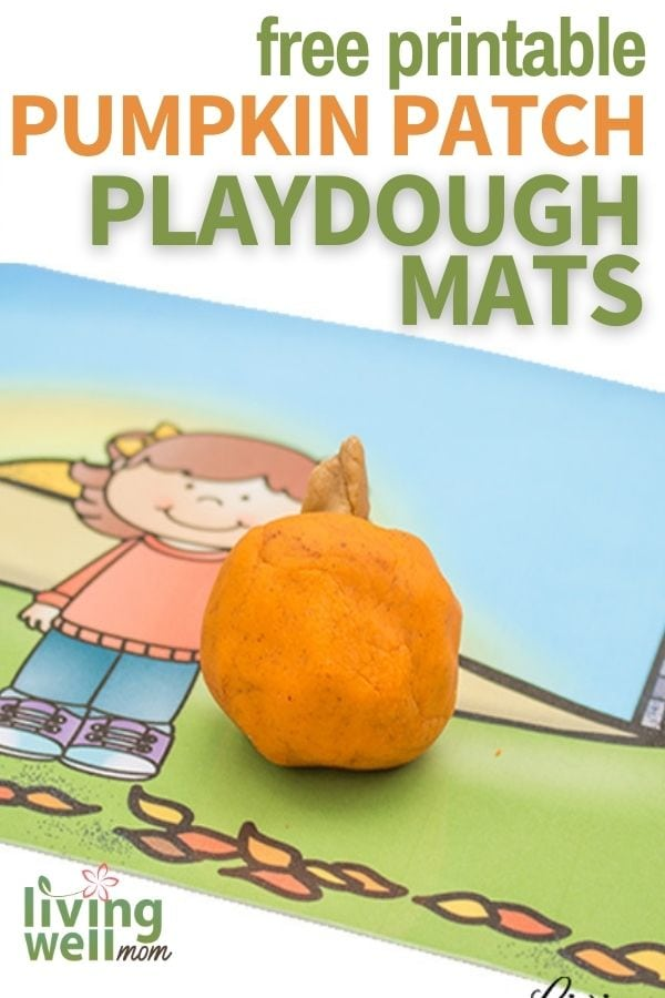 Free printable fall playdough mat with orange playdough pumpkin on it