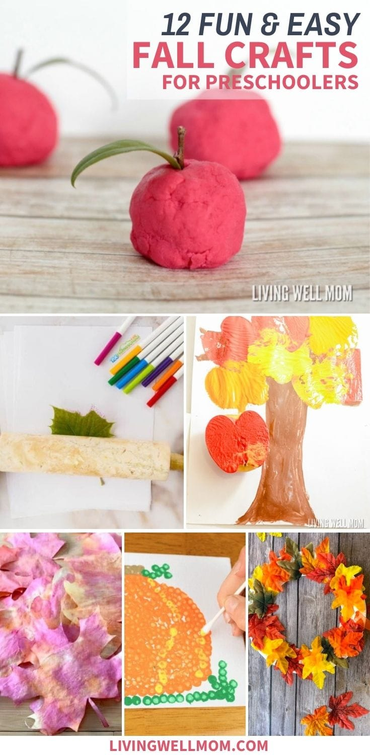collage of easy crafts for kids using red play dough, paint, and tissue paper