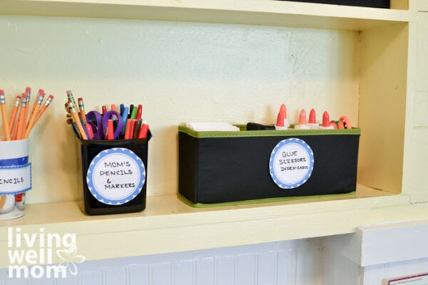 Supplies for hybrid learning organized neatly in bins