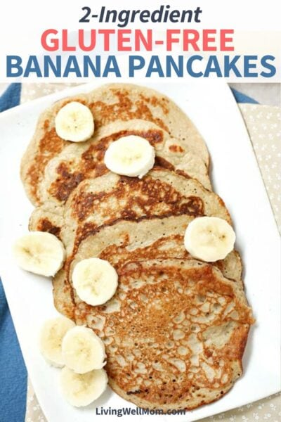 pancakes on a white plate with banana slices