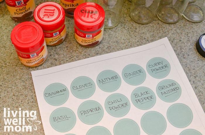 round spice jar labels