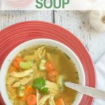 Pinterest graphic for paleo chicken noodle soup