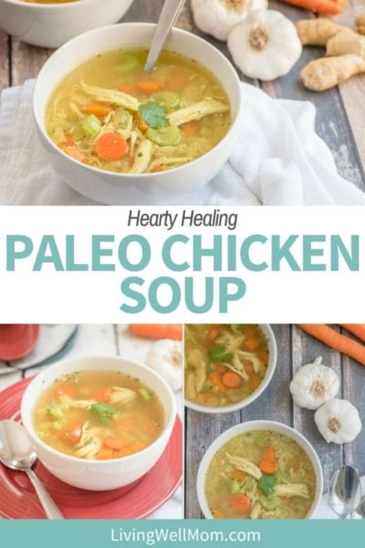 Pinterest graphic for a paleo soup with chicken