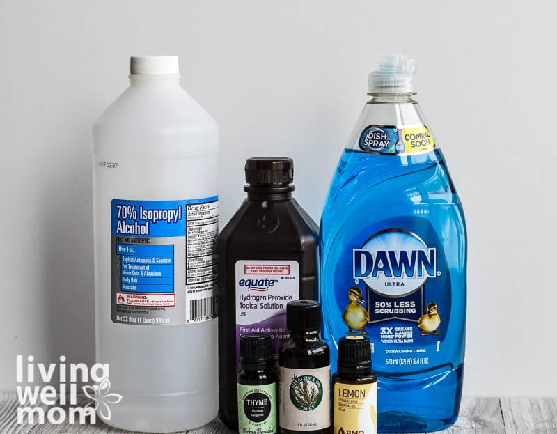 isopropyl alcohol, hydrogen peroxide, dawn dish soap, and essential oils