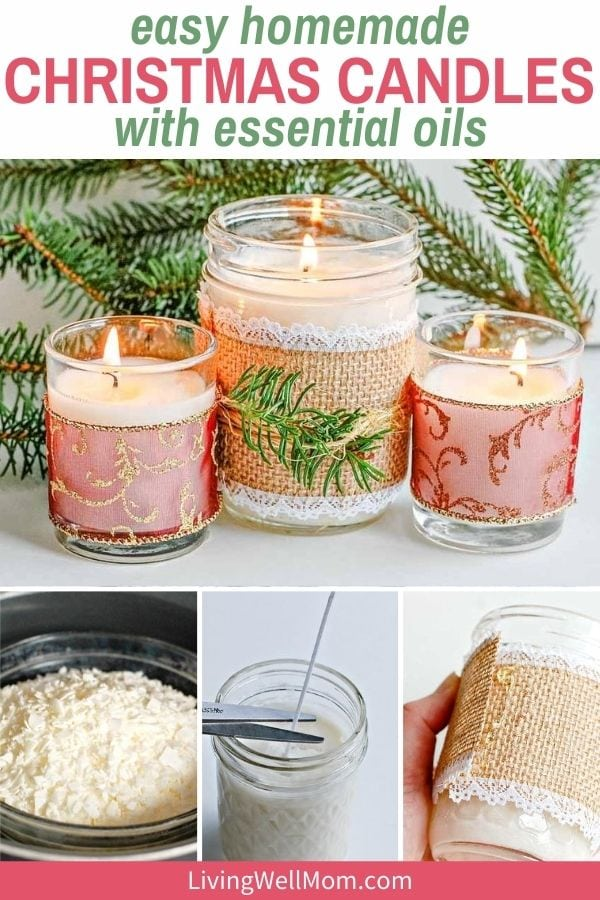 collage of images showing the process of making Christmas candles