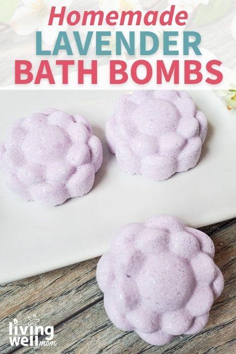 lavender bath bombs on a white tray