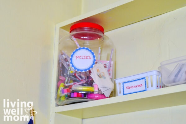 Prizes bin for homeschoolers on a shelf