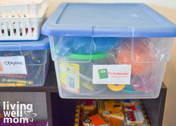 a bin to store playdough for kids