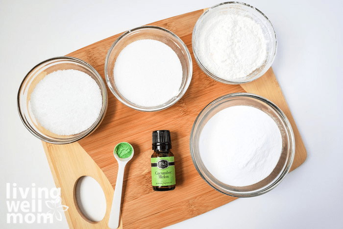 Ingredients for making your own fizzing baths alts including epsom salt and citric acid.