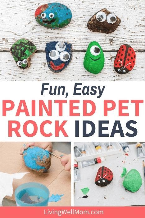 Fun, easy painted pet rock ideas.