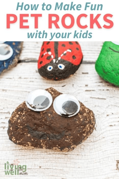 Pinterest image for how to make pet rocks with your kids.