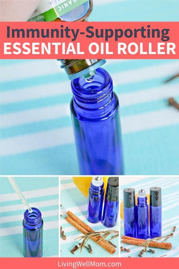collection of photos making blue essential oil roller for immune support