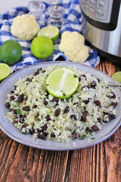 cauliflower rice with lime on a plate