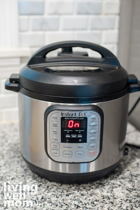 instant pot on granite countertop with 'on' signal