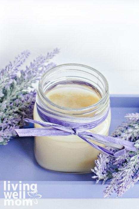 Jar of DIY cracked heel cream made with essential oils