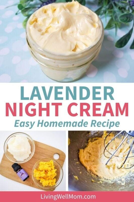 Pinterest image for lavender night cream - and easy homemade recipe.