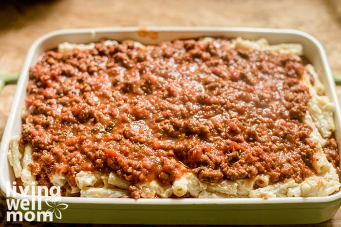 baked ziti with meat before going in the oven