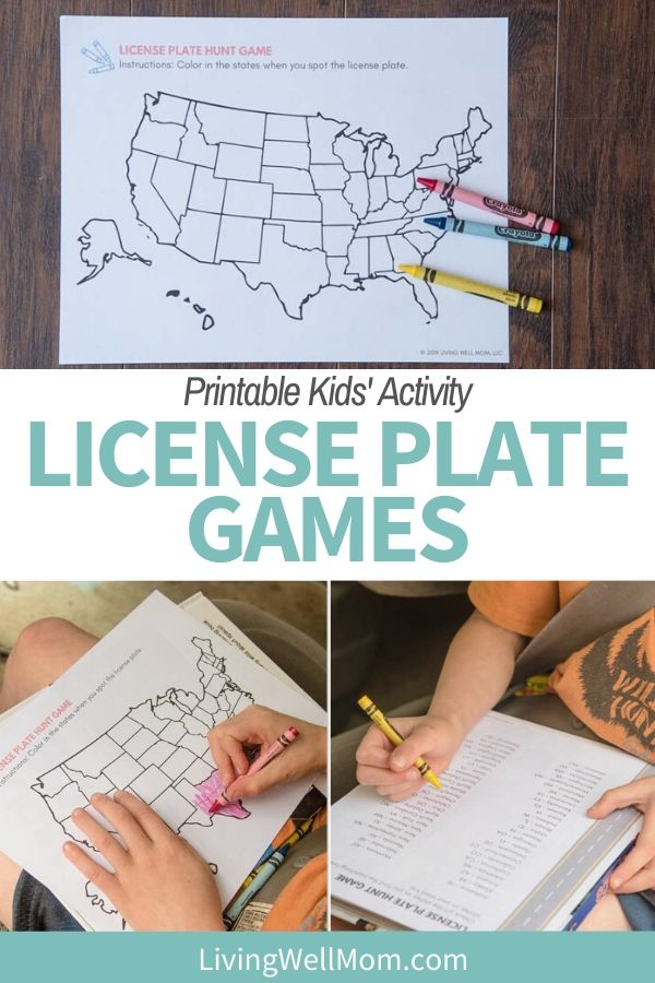 Pinterest graphic with a printable license plate game.