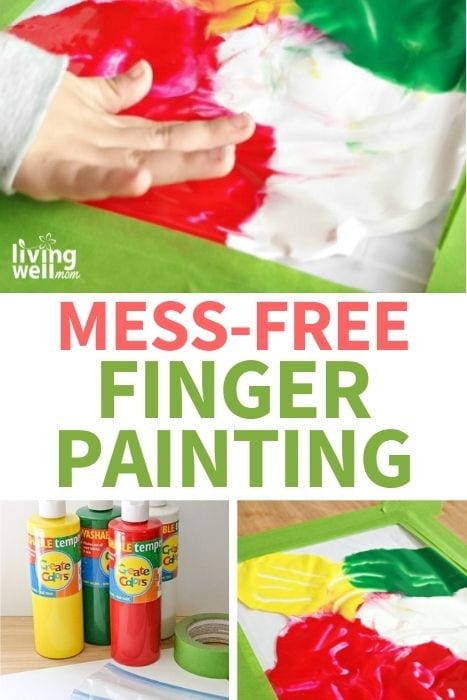 A child's hand pressing around paint in a mess-free finger painting activity image for Pinterest.