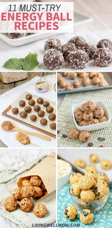 collage of different types of energy balls