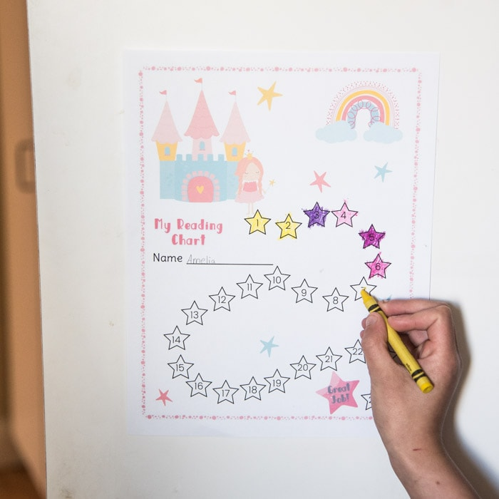 girl's reading chart from the motivation and fun kit