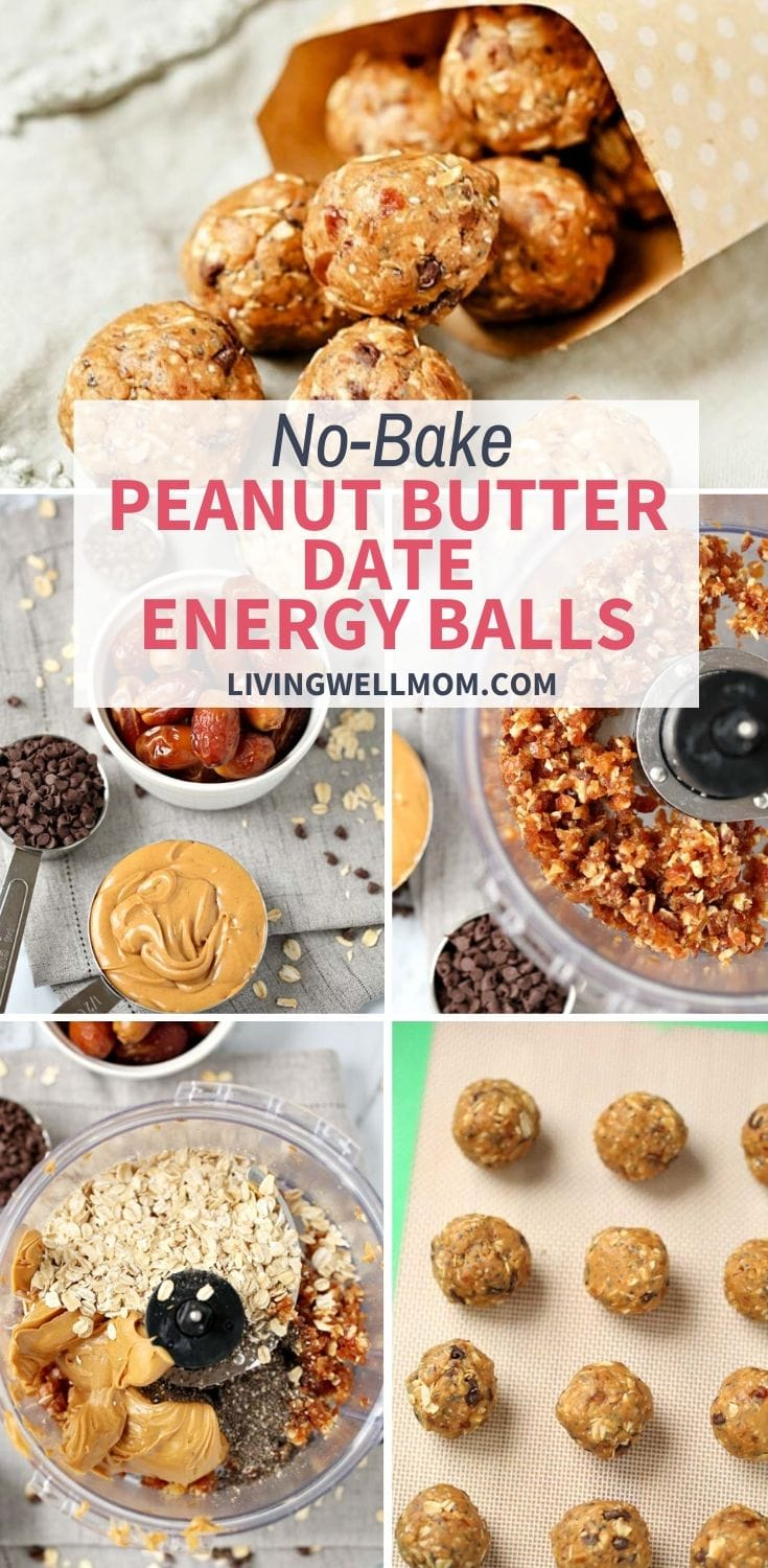 collection of photos for no-bake peanut butter date energy balls