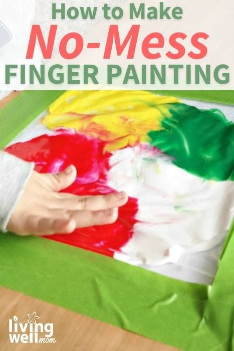 Pinterest image for how to make no-mess finger painting.