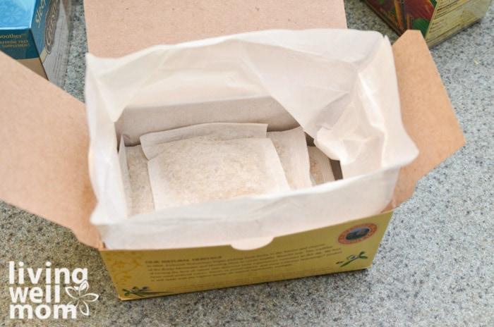 open box of tea with tea bags