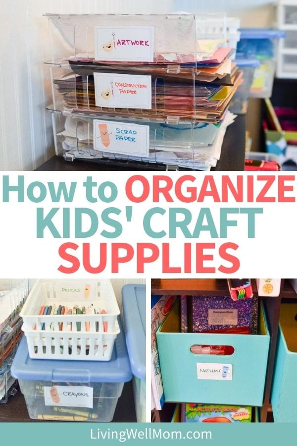 organize kids craft supplies pinterest image