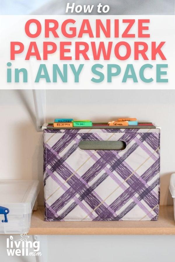bin with organized paperwork
