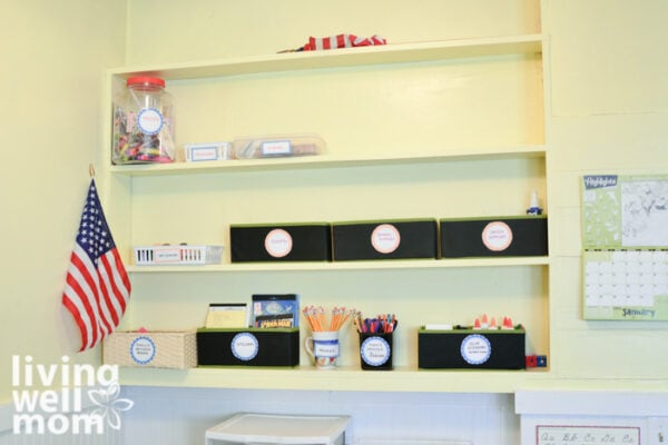 Narrow shelf with homeschool supplies