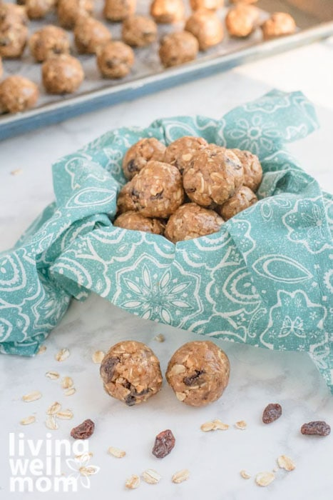 Container filled with 5 minute peanut butter protein balls