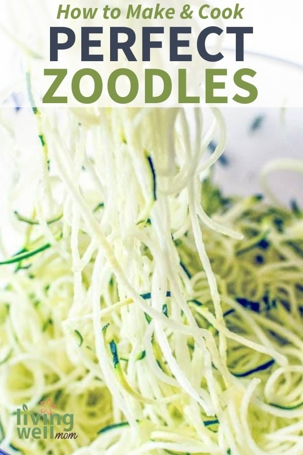 scooping shredding zucchini for zoodles
