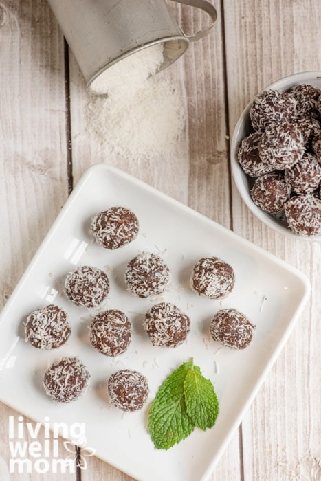 Plate of chocolate peppermint balls