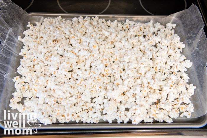 parchment paper lined with popcorn