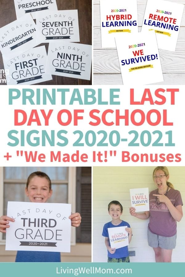 collection of images for printable last day of school signs