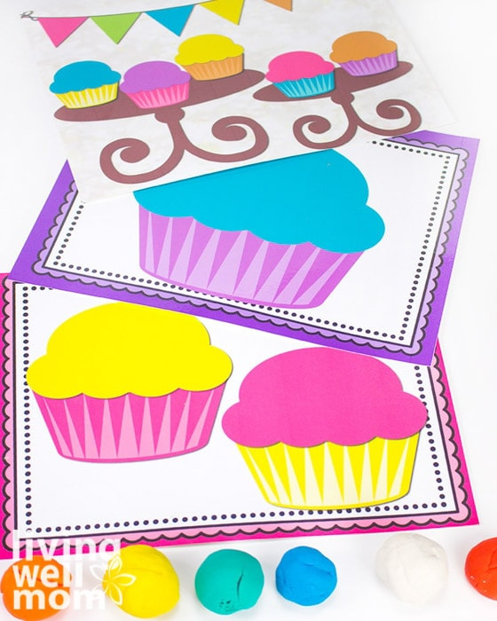 colorful play dough mats with cupcakes for preschool pretend play